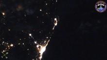 2017年10月9日21時38分頃(GMT) 、モロッコ上空の夜景です.